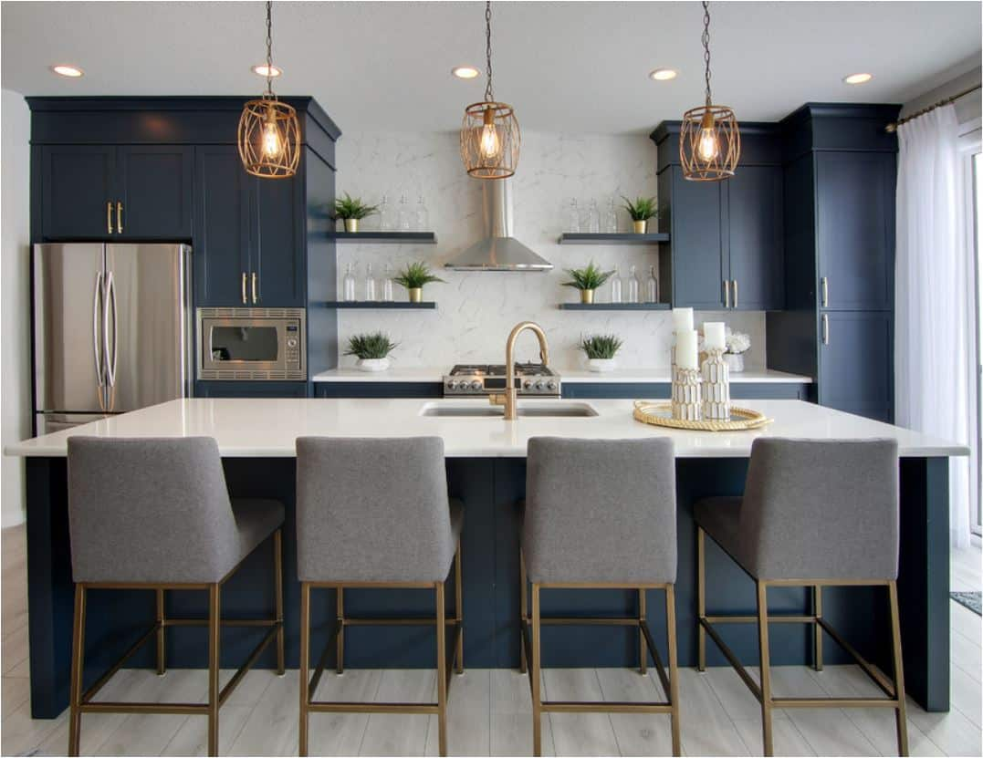 navy and tiles Chic, trendy Kitchen island upgrades that instantly refresh the room