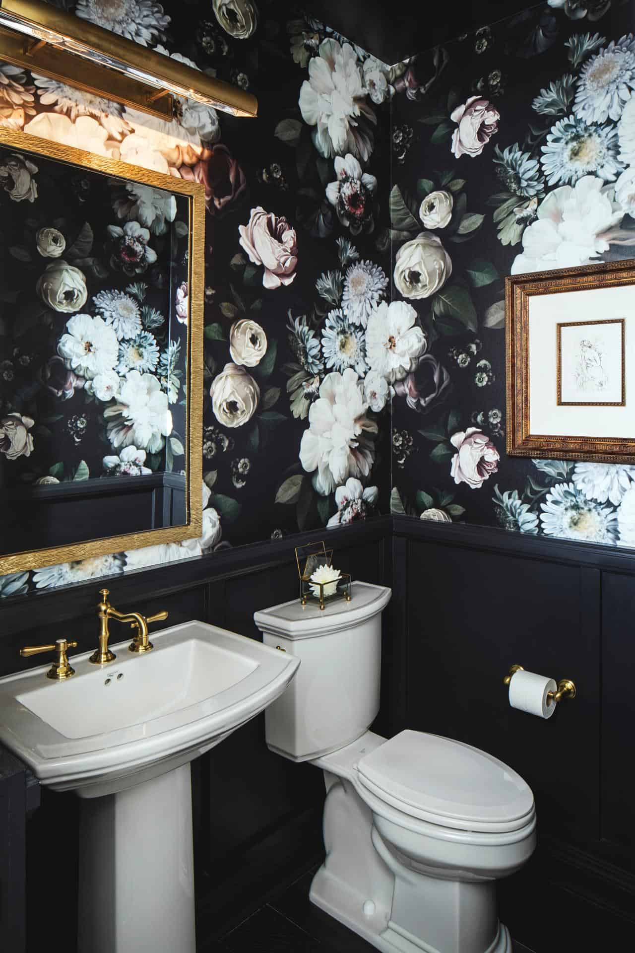 small powder room with florals