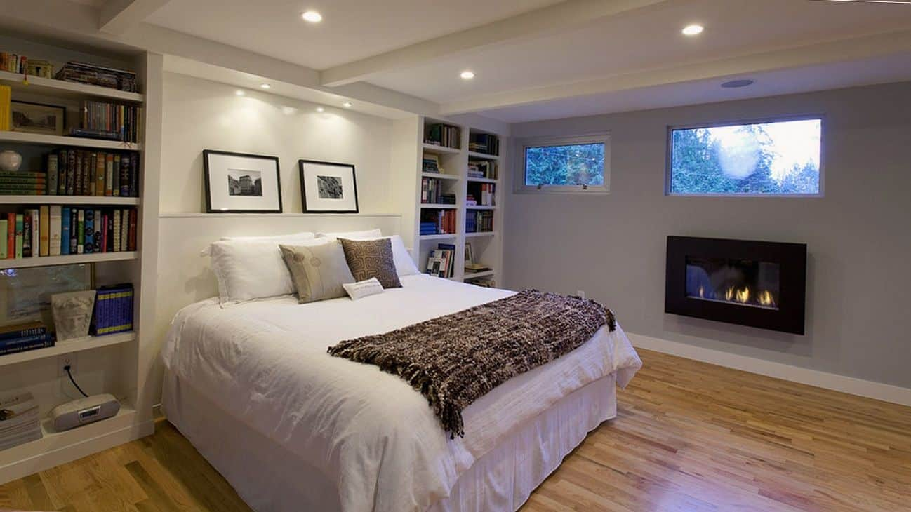 fireplace bedroom with basement