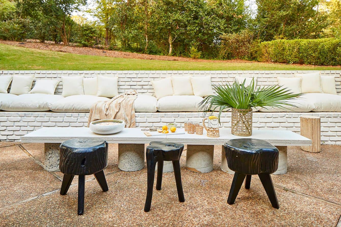 low table in patio