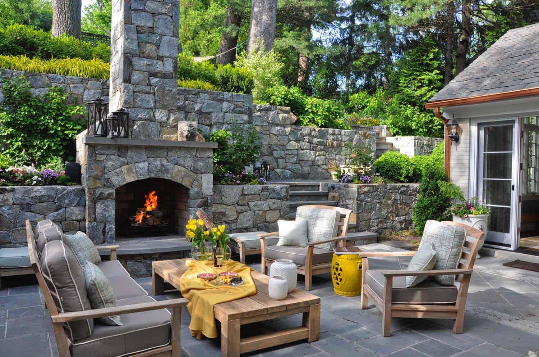 backyard with firepalce