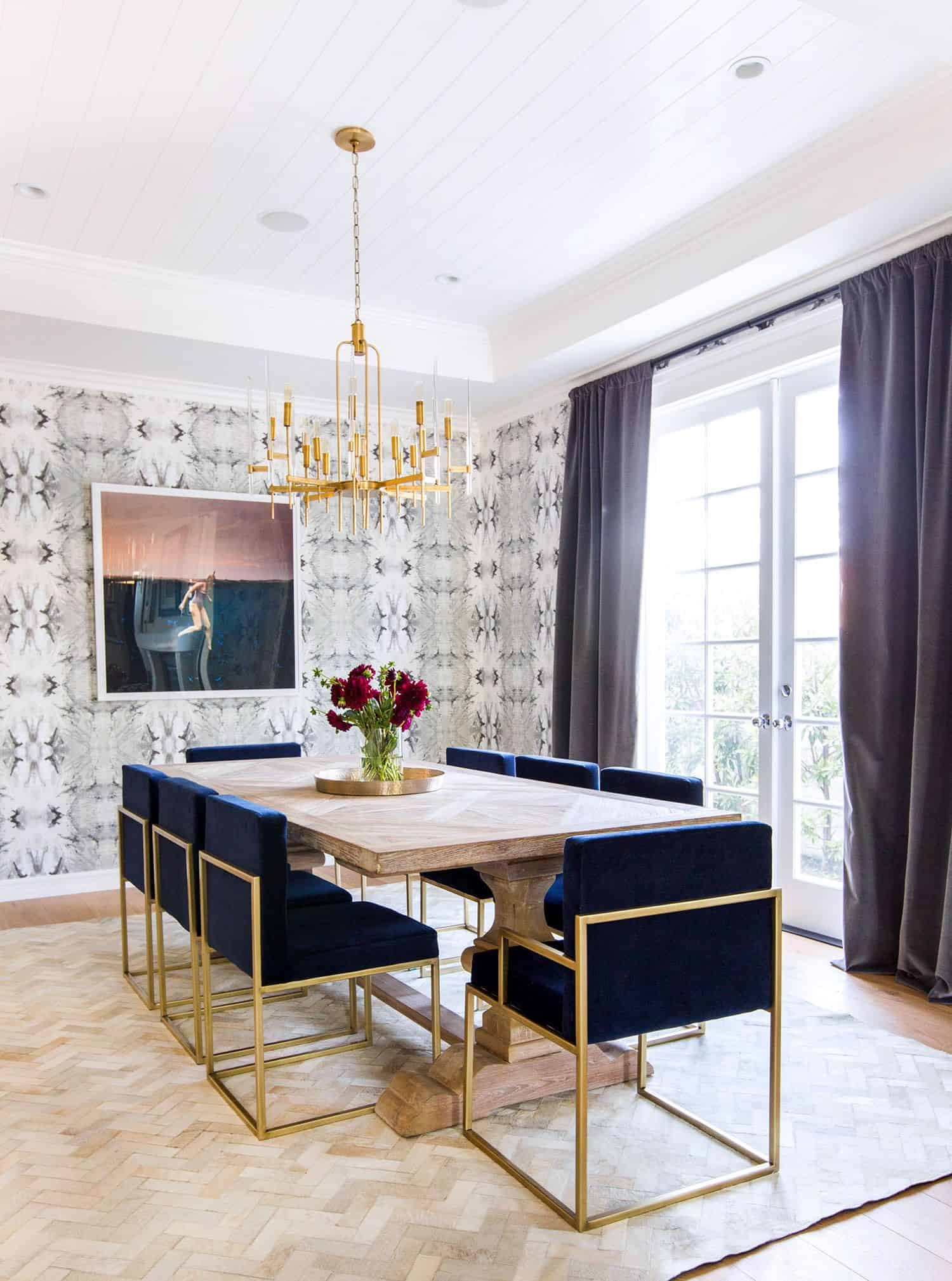 brass in dining room Top Spring Trends from Celebrity home decorators