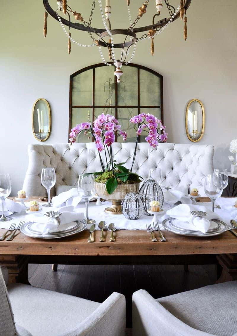 dining room with orchids Charming decorating ideas filled with greenery
