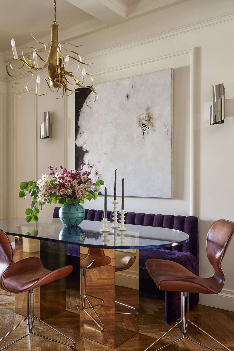 kitchen banquette with purple Graceful Banquette Seating Ideas You'll Love