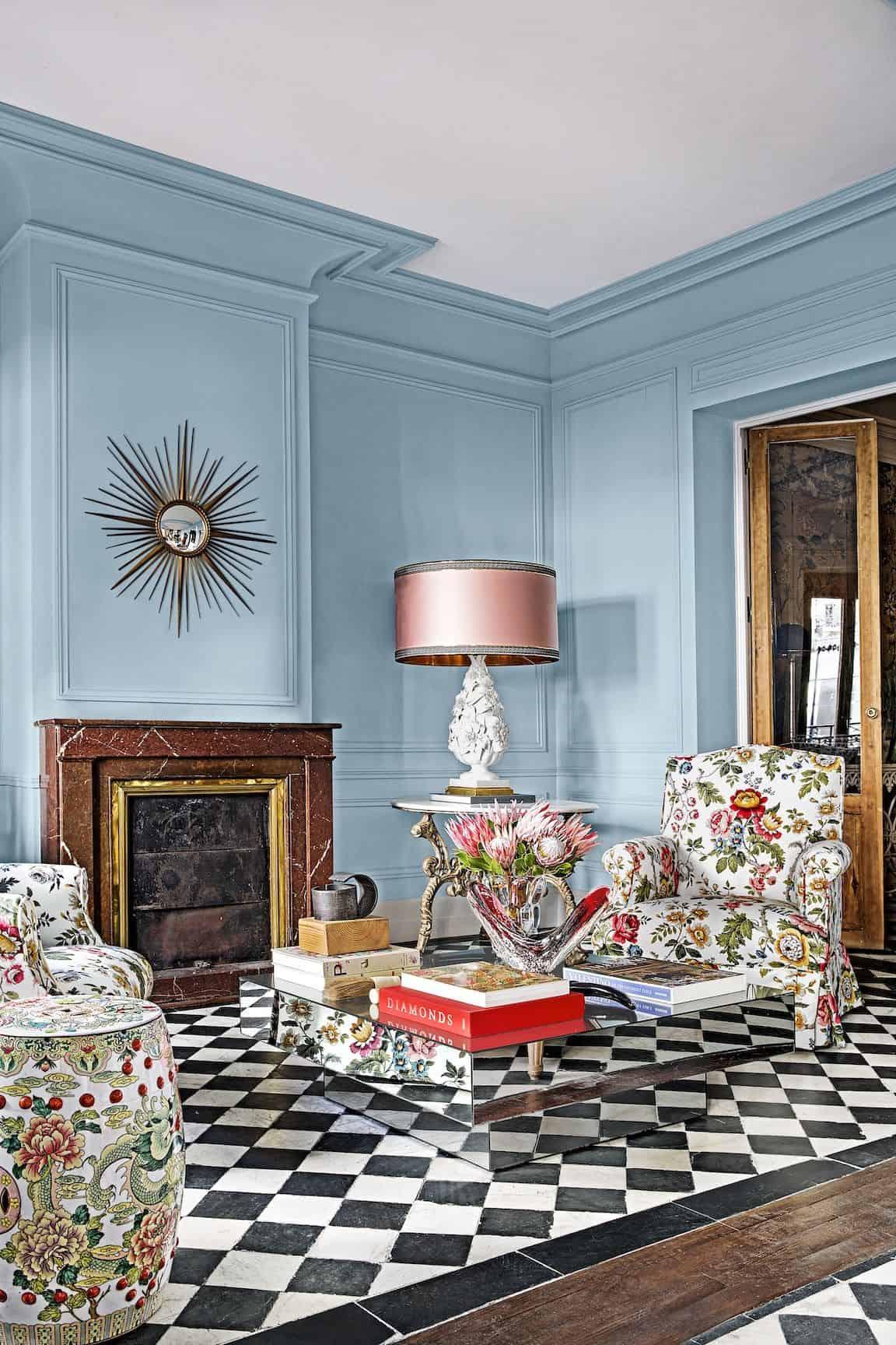 pastel fireplace