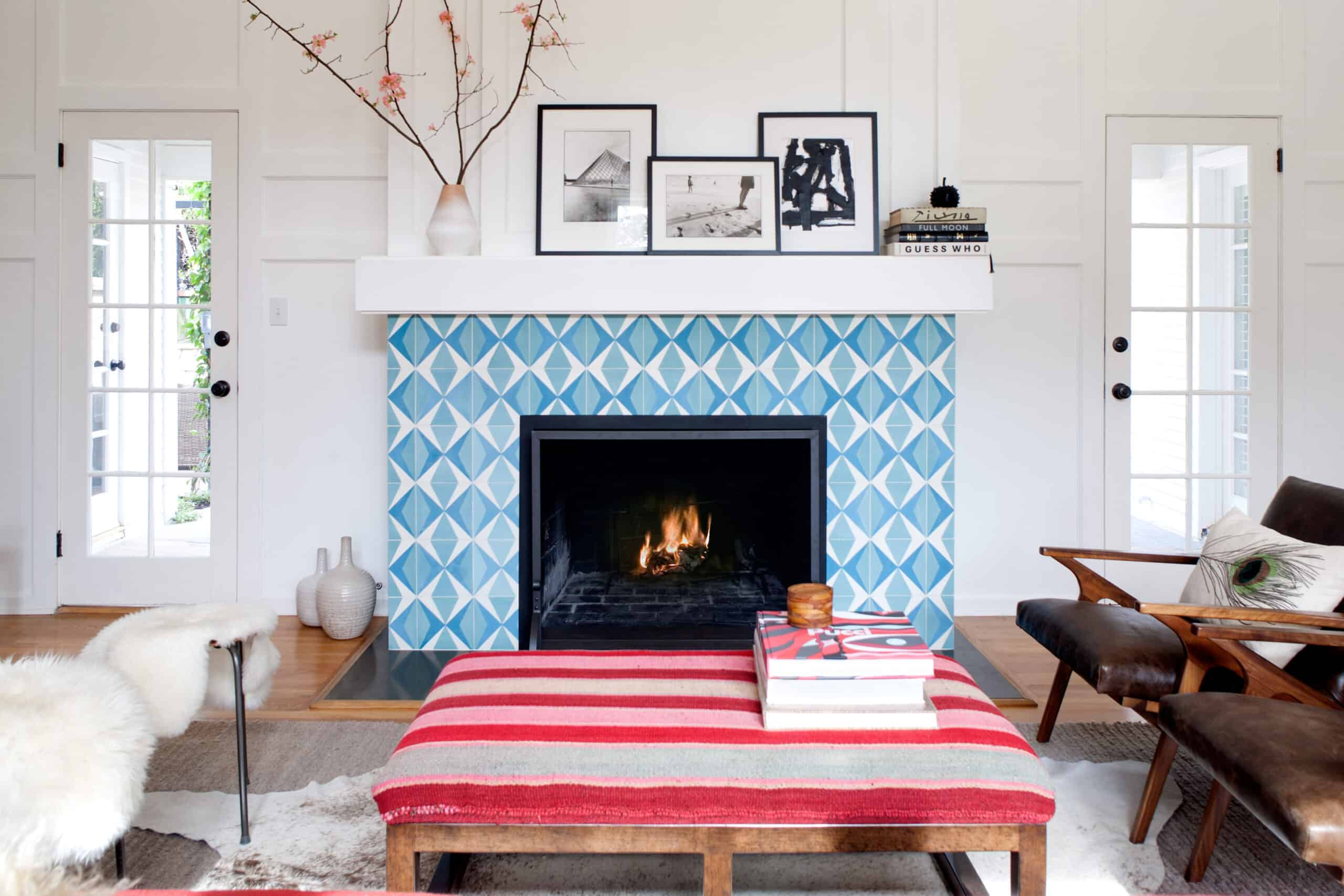 pattern firepalce scaled Invigorating Painted Brick Fireplace Ideas