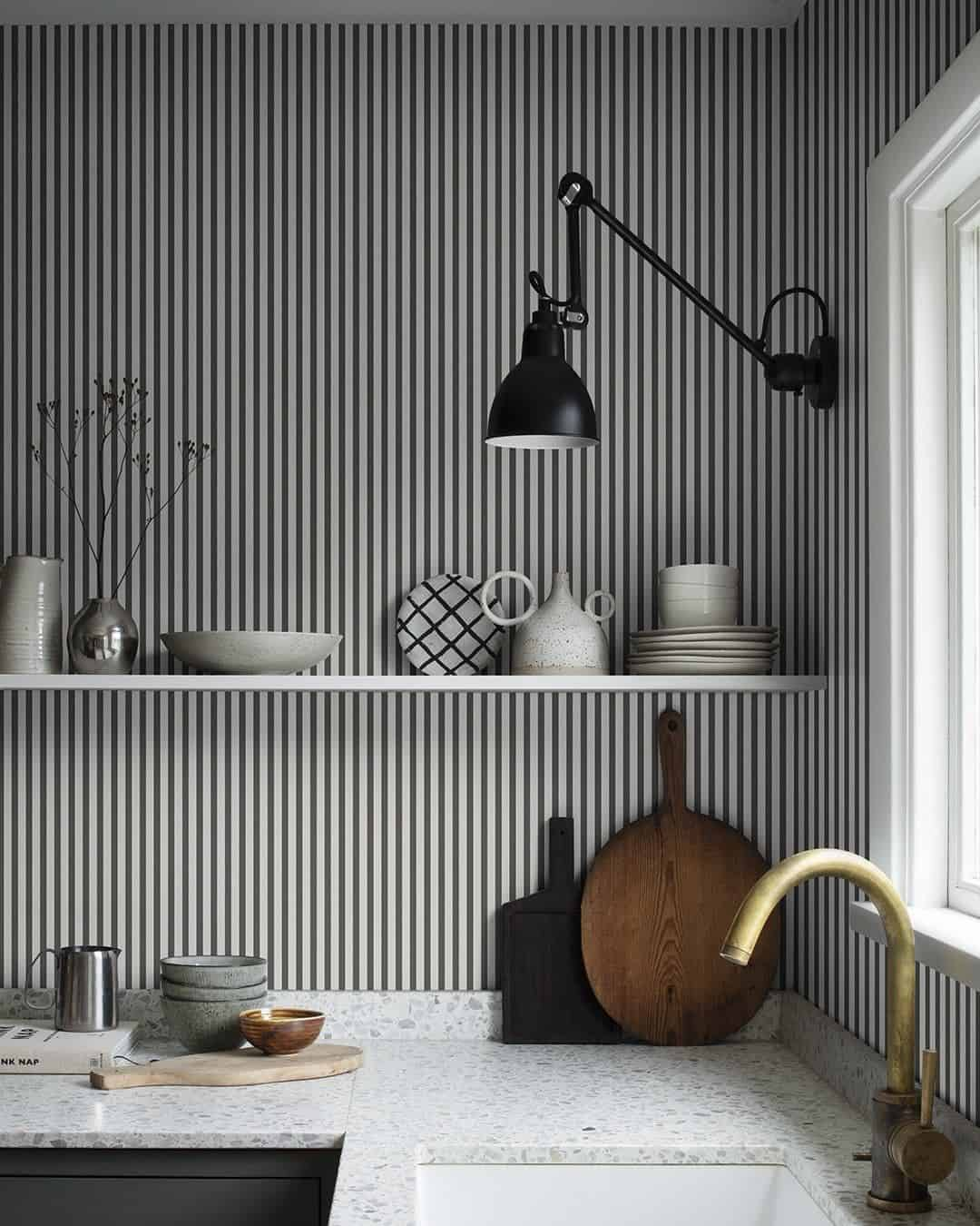 black and white stripe wallpaper Cool wallpapers that will enchant every room