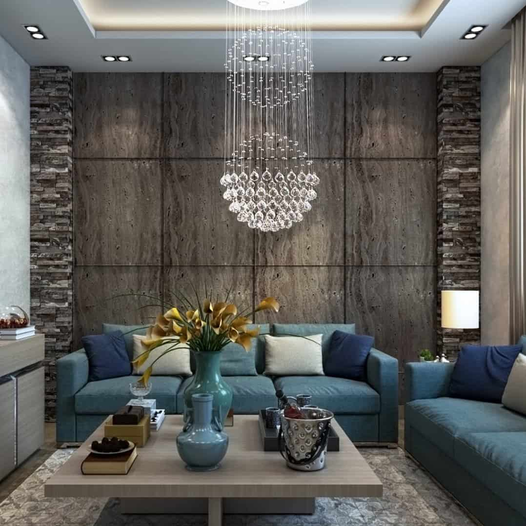 chandelier in living room 2 Designer tips to create a brighter room instantly