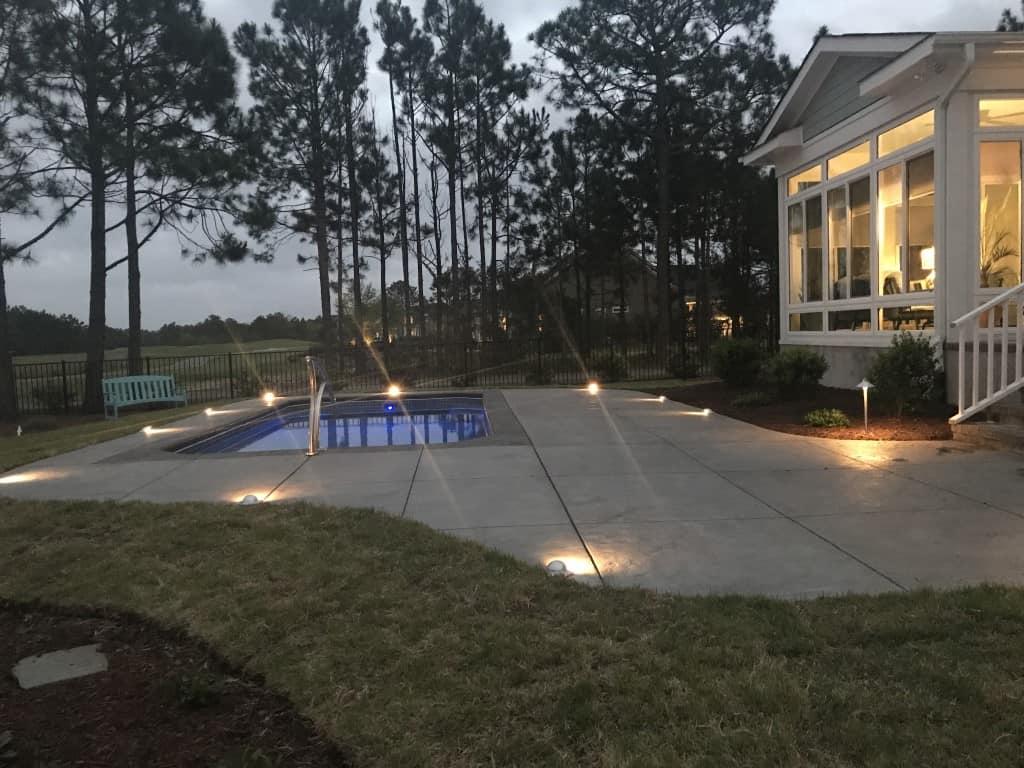 walkway with lighting