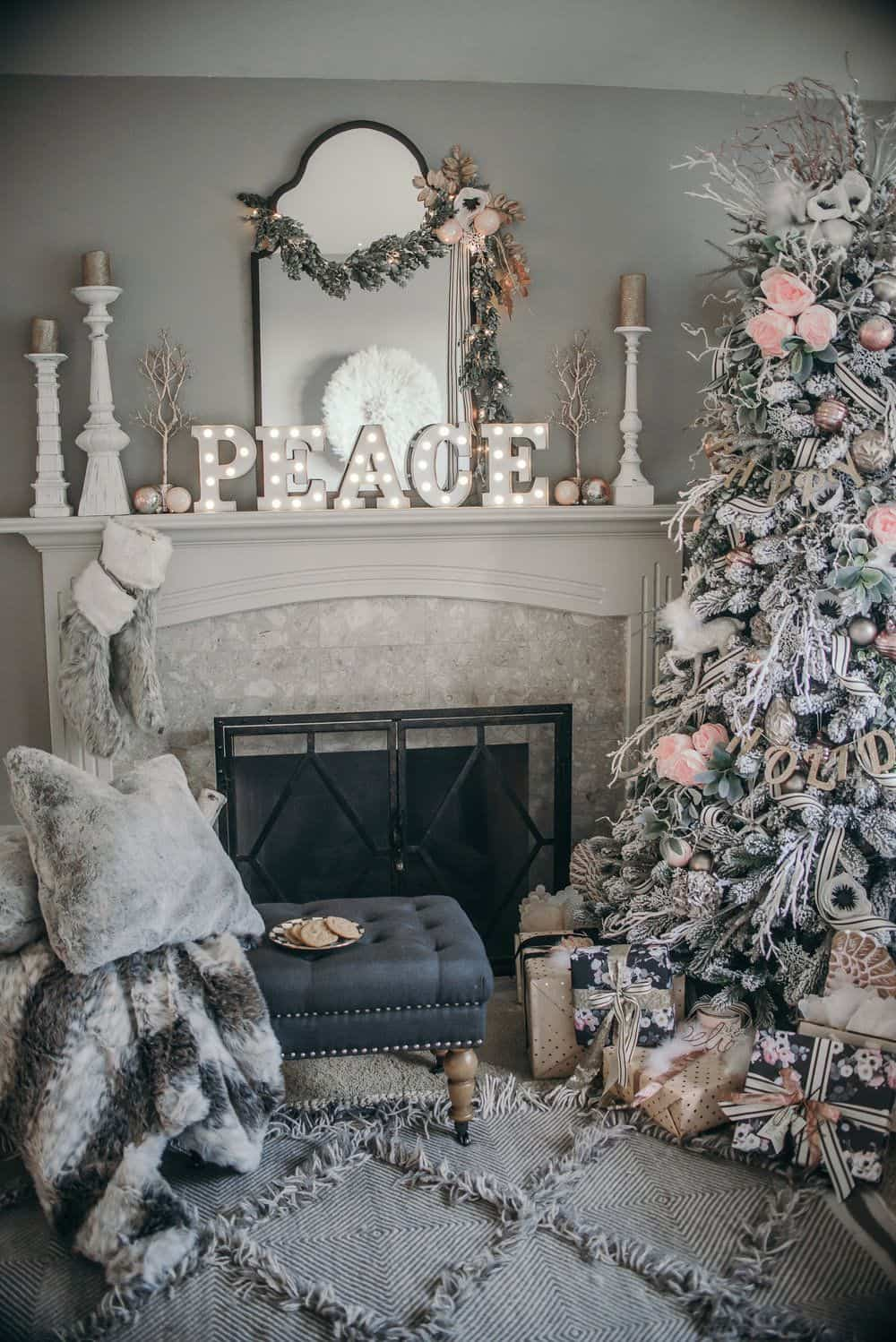 christmas mantel with gold