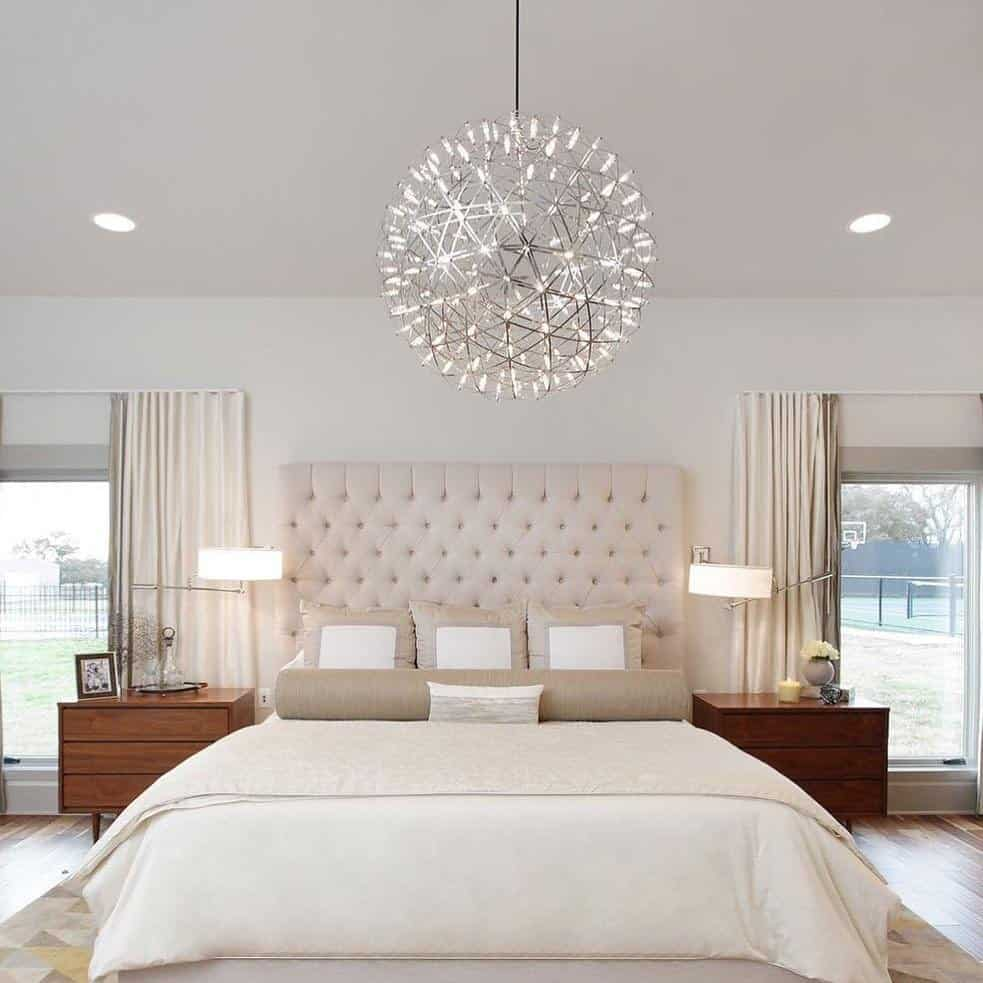 multiple light fixtures in small room