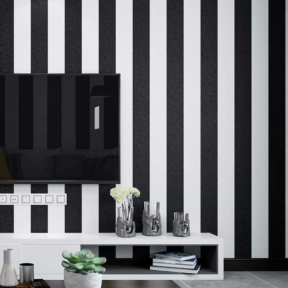 striped wallpaper small bedroom