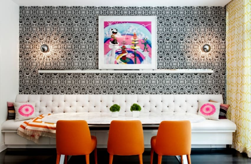 Modern black and white living room wallpaper