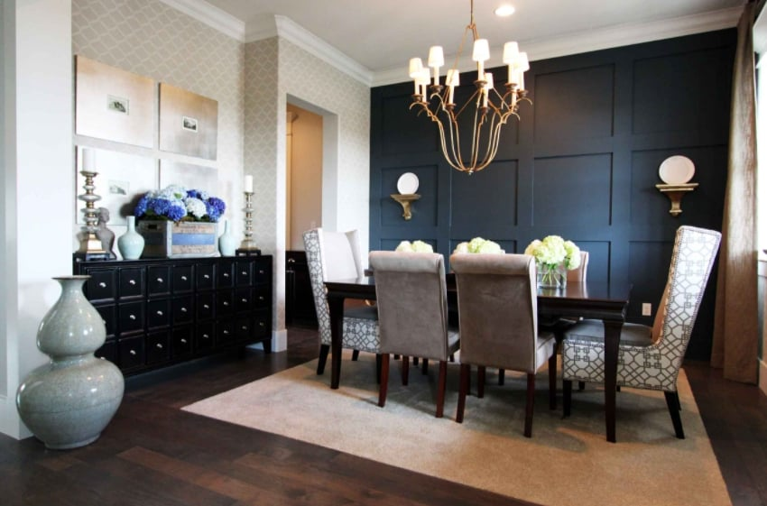 Modern wall paneling and wallpaper for open space dining