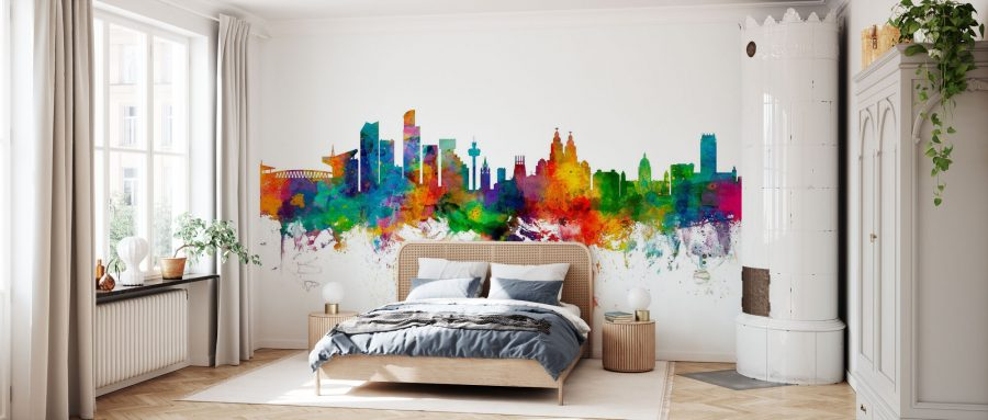 Rainbow City wallpaper 900x383 The Best Ways to Incorporate Wallpaper into Your Living Room