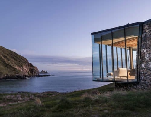 Sustainable Oceanfront Cabin on Remote Volcanic Mountainside
