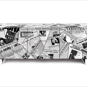Century Cupboard by Riflessi decorated in Newspaper Pages reflecting on Historical Events