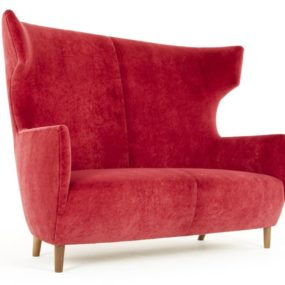 2 Seater High-back Pink Sofa by Dare Studio