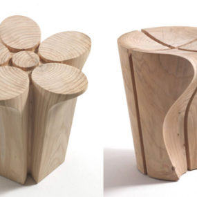 Solid Wood Stools by Karim Rashid for Riva1920