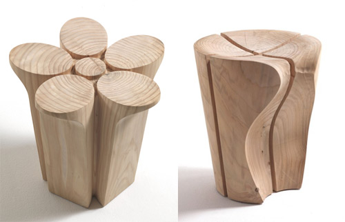 solid wood stools fiore delta karim rashid riva1920 1 Solid Wood Stools by Karim Rashid for Riva1920
