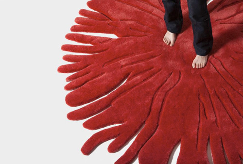 red designer rugs nodus pompon 2 Red Designer Rugs by Nodus