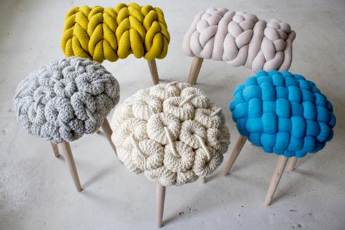 fun knitted stool cushions claire anne o%27brien 1 Knitted Stool Cushions by Claire Anne OBrien