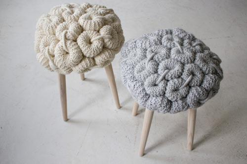 fun knitted stool cushions claire anne o'brien 2