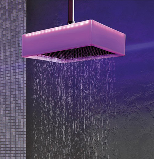 ceiling mounted overhead shower chromotherapy ponsi colore 1 Ceiling Mounted Overhead Shower with Chromotherapy by Ponsi