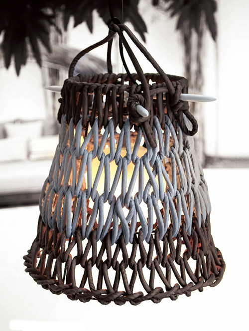 knottee hanging lamp floor lamp kenneth cobonpue hive 1 Knit Lamp Shades by Kenneth Cobonpue   Knottee