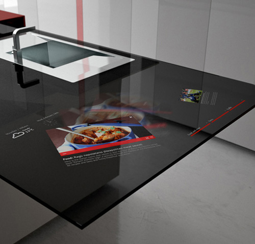 hi tech kitchen toncelli prisma 2 Smart Kitchen by Toncelli with built in Samsung Galaxy Tablet