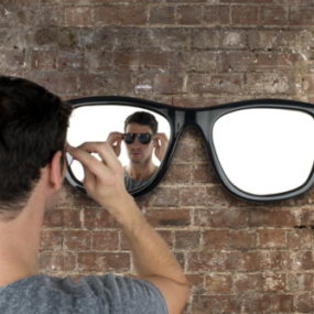 "Cool ""Looking Good"" Wall Mirror by Thabto"