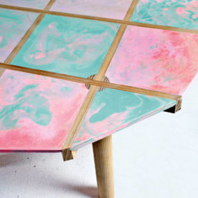 DIY dye-able bio resin table by Vincent Tarisien