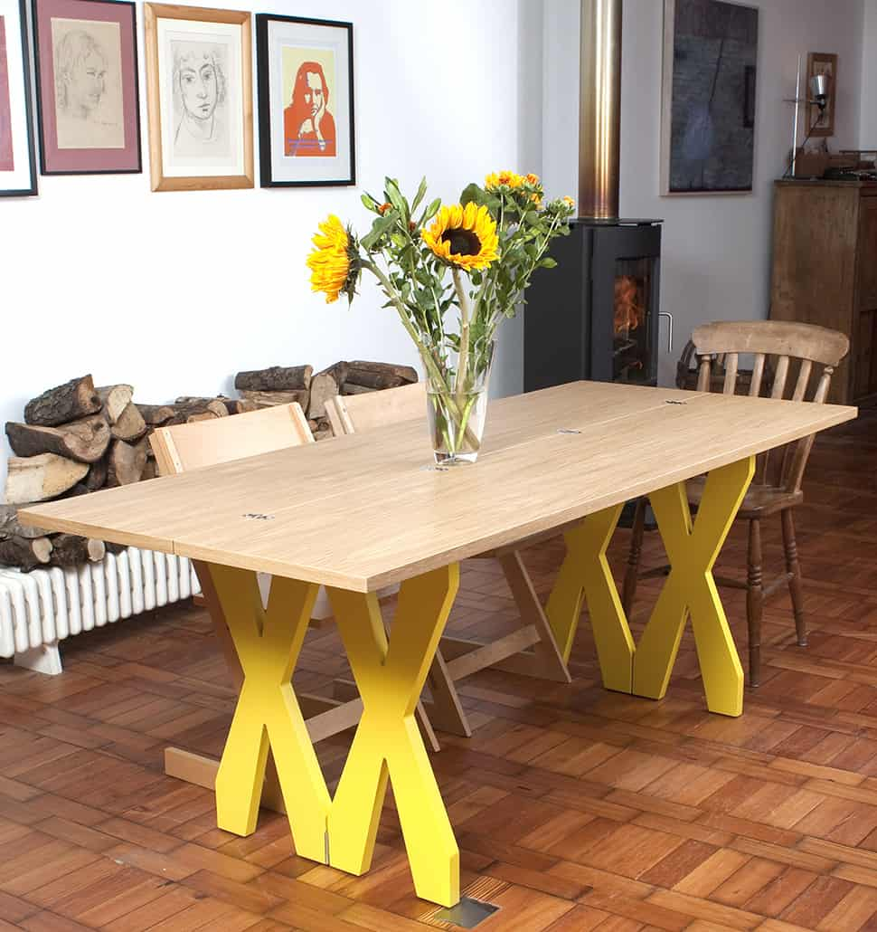 Foldable Dining Table Console - Double Cross by Steuart Padwick