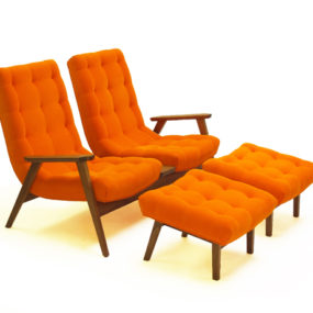 Trendy Retro Two Seater Chair with Two Footrests