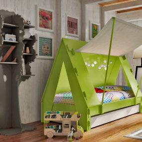 Trundle Bed for Children Creatively Closes into Private Tent with Light