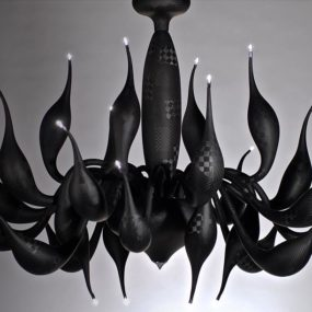 Carbon Fiber Chandelier by LU Murano: TechnoLUgy