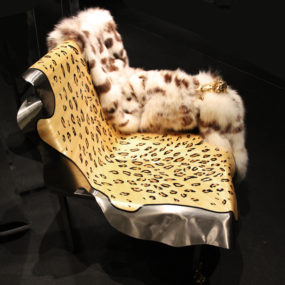 Leather and Fur Chaise Lion by Maria Pergay for Fendi