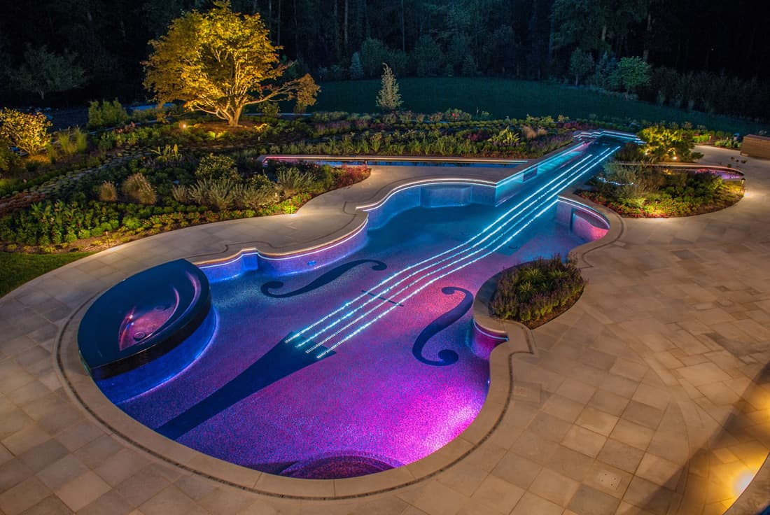 View In Gallery Award Winning Stradivarius Violin Pool Cipriano Landscape  Design 1  Blue Purple Lights Thumb 630xauto 32164