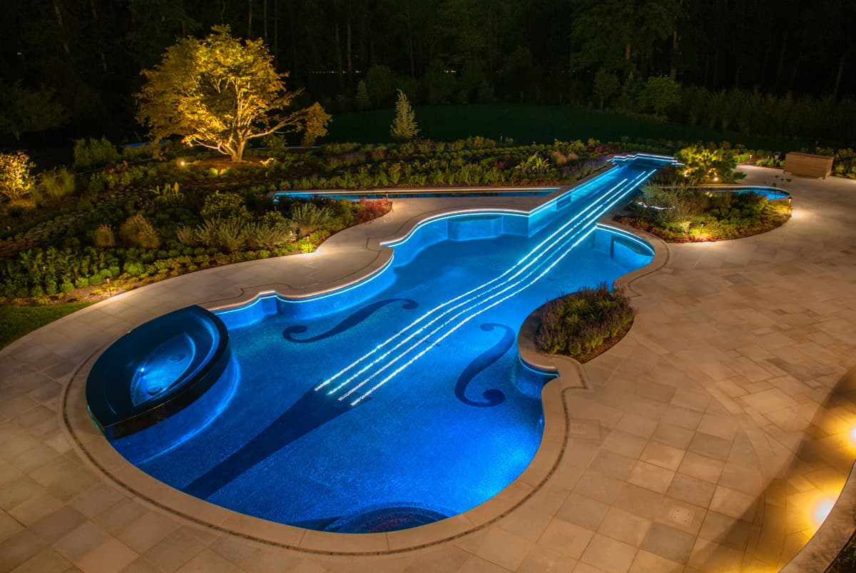 View In Gallery Award Winning Stradivarius Violin Pool Cipriano Landscape  Design 2 Blue Lights Thumb 630xauto 32166 Custom Swimming