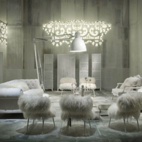 Paola Navone Designs White Fairy Tale like Interiors to Present Latest Furniture by Baxter