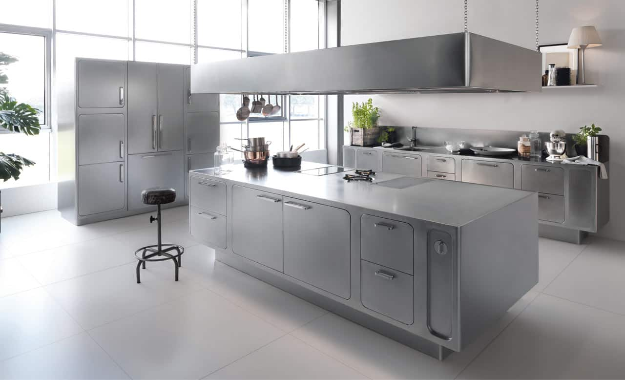 Sleek and sumptuous stainless steel kitchen by abimis for Stainless steel kitchens cabinets