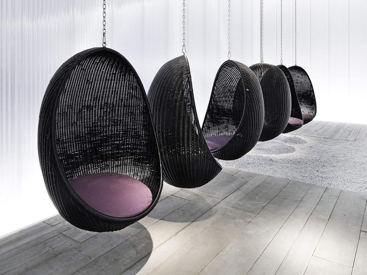 Suspended Wicker Chair Egg By Pierantonio Bonacina