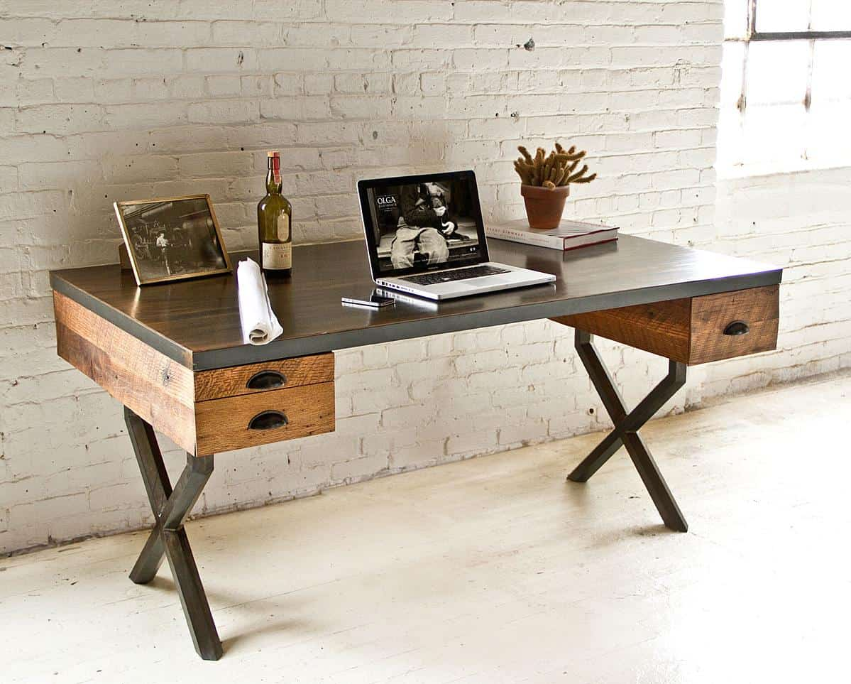 Steel and reclaimed wood walter desk by richard velloso for Metal desk with wood top