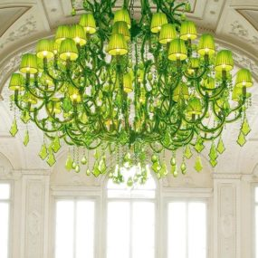 Spectacular Lime Green Chandeliers by Masiero: Ottocento Collection
