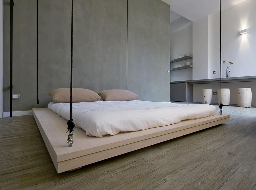 space saving bed raises to become ceiling art by renato arrigo. Black Bedroom Furniture Sets. Home Design Ideas