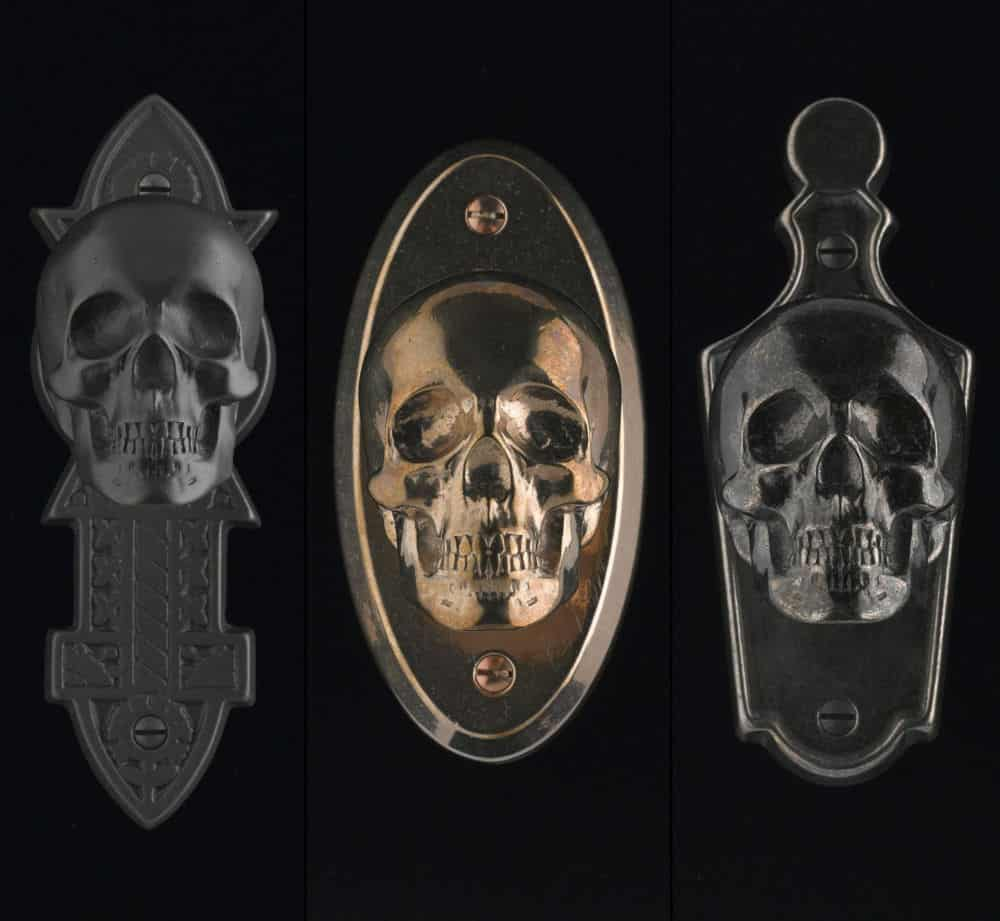 Merveilleux Skull Von Bronze Backplate Hardware For Doors By Faucetto