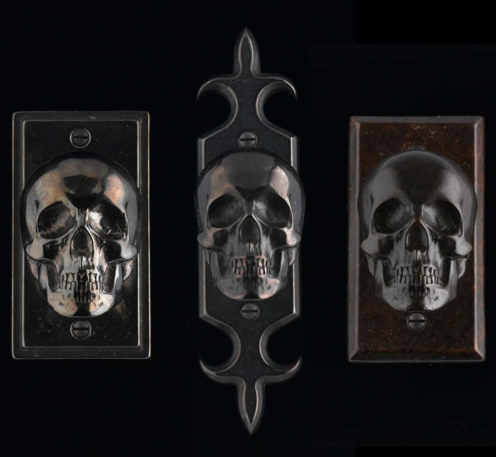 Beau Skull Von Bronze Backplate Hardware For Doors By Faucetto