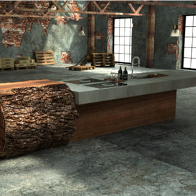 Inspired Tree Trunk Kitchen by Werkhaus