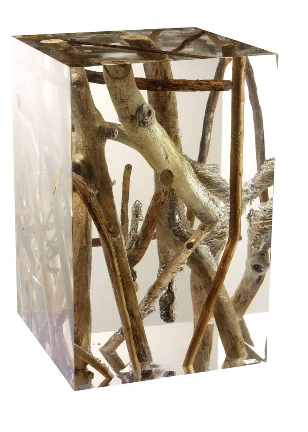 Driftwood Branches In Acrylic Side Table By Michael Dawkins