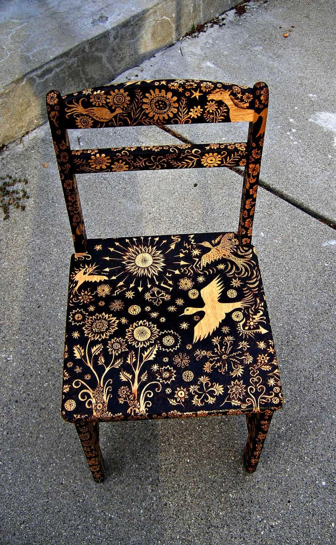 Wood Burned Coffee Table By Cecilia Galluccio